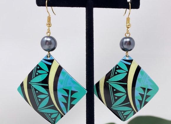 Tribal Triangle Tropical Earrings
