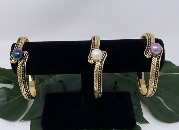 Hawaiian Heirloom Hamilton Gold Tribal Pearl Bracelet