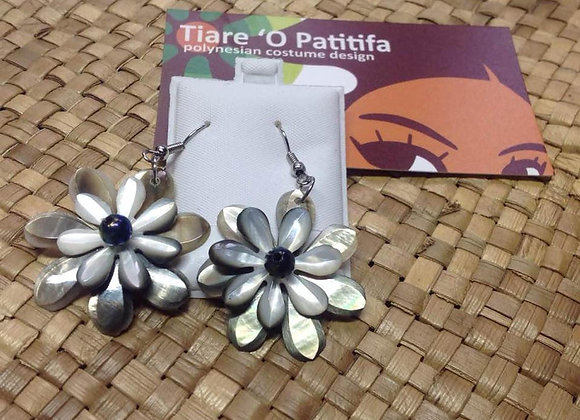 Double Flower Mother Of Pearl Shell Earrings