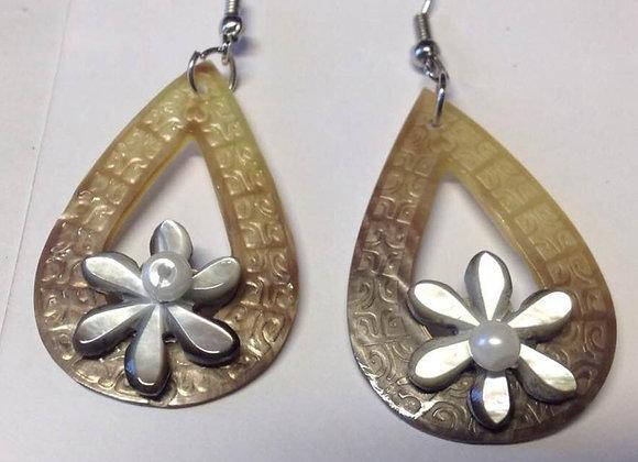 Carved tribal mother of pearl teardrop Tiare flower Earrings
