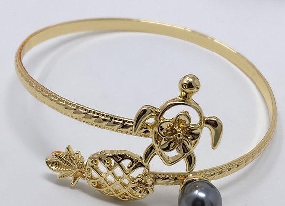 Hawaiian Gold Plated Single Pearl Turtle Pineapple Bracelet