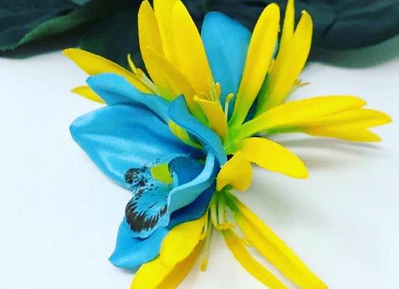 Hawaiian double blue Orchid Flower hair clip