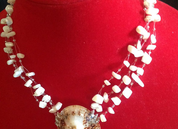 White Mother Of Pearl Shell Three Strand Necklace.