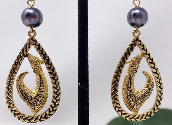 Hawaiian Teardrop Halo Tribal Fish Hook Earrings