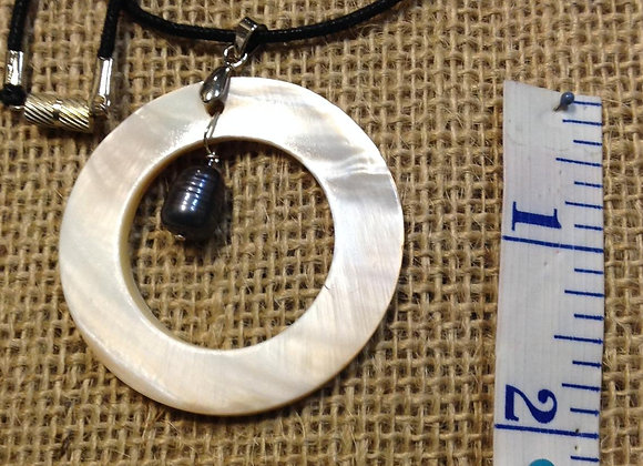 White Mother Of Pearl And Black Fresh Water Pearl Necklace/Pendant