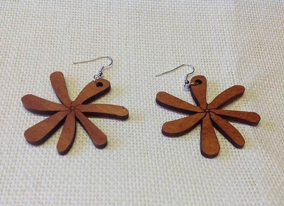 Wooden Tiare Flower Earrings..