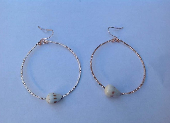 Gold Plated Hoop Shell Earrings