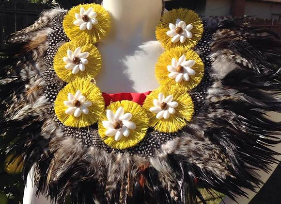 Feather, Hau & Bubble Shell Neckpiece