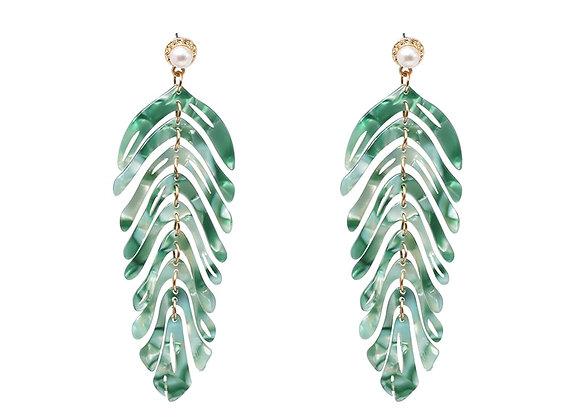 Tropical Resin Leaf and pearl stud dangle earrings