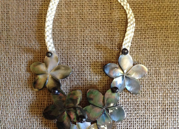 Mother Of Pearl Shell And Pearls Necklace