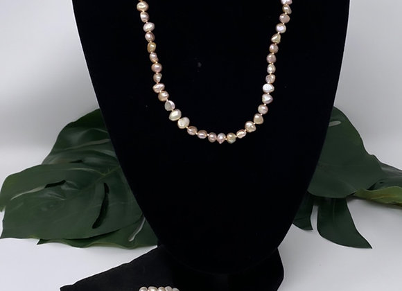 Peach Freshwater Pearl Jewelry Set