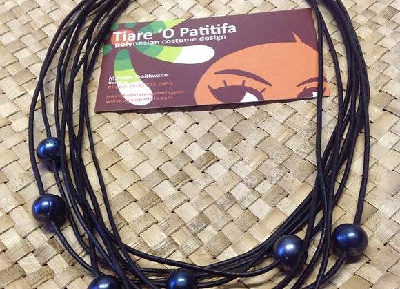 Black Fresh Water Pearl Multi Strand Necklace