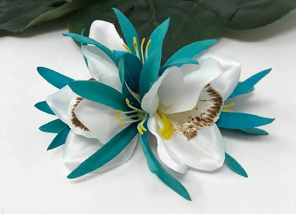 Hawaiian double White Orchid Flower hair clip