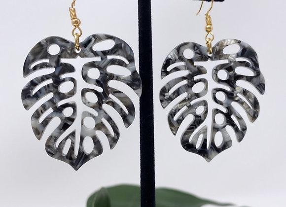 Faux Turtle Shell Monstera Earrings