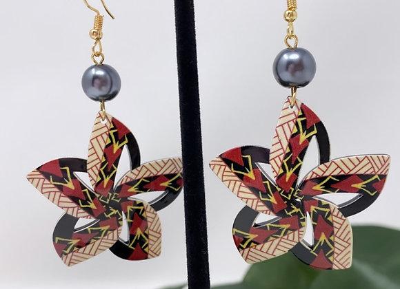 Tribal Tropical Flower Earrings