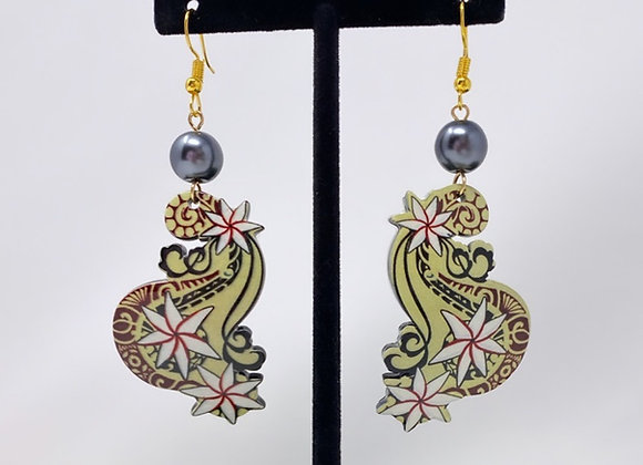 Tribal Tiare Wave Tropical Earrings