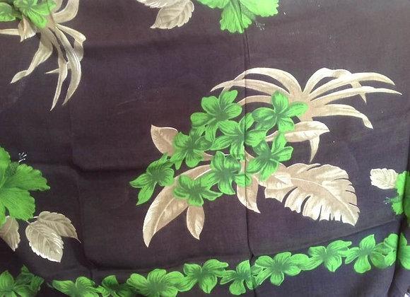 Black & Green Floral Leaf Print