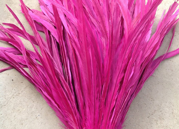 """15-17"""" Fuchsia Rooster Tail Feathers"""