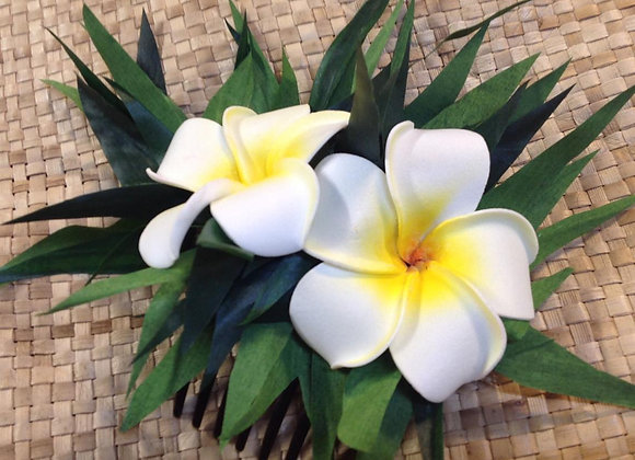 Ti Leaf & Double Plumeria Flower Hair Comb