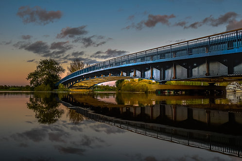 The Seven Bridge Upton in Flood at Sunset