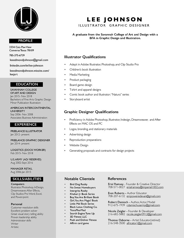 Lee Johnson Illustrator Designer Resume.