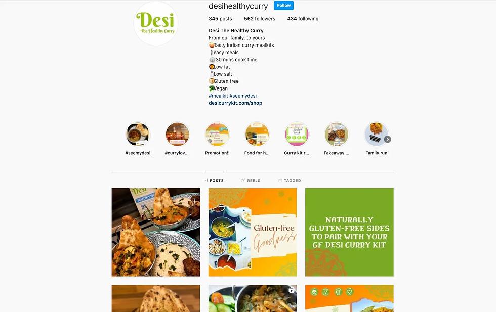 desi the healthy curry kit social media