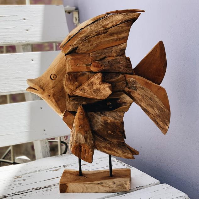 Fish On Stand - Teak Driftwood