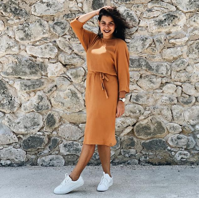 ZUSSS - Dress With Belt - Honey