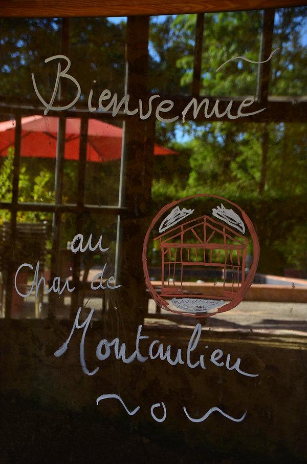 Dessin et message de bienvenue au Chai de Montaulie