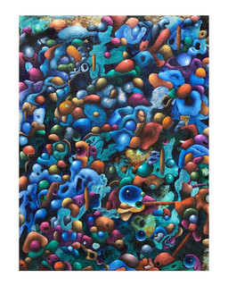 """""""Microbes in the Morning."""" Acrylic on panel, 24 x 30 in, 2020. Available: 750 USD"""
