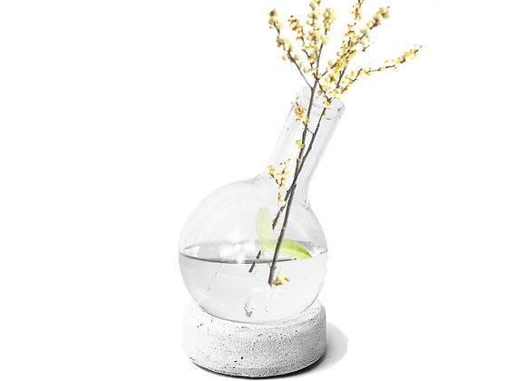 vaso vidro balão fundo concreto