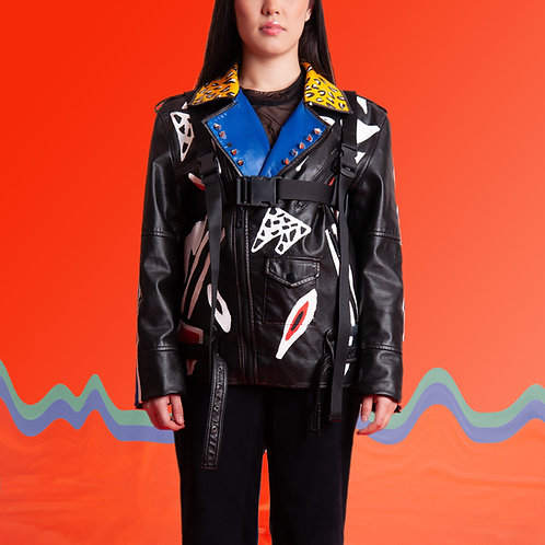 Jaqueta de couro abstrata