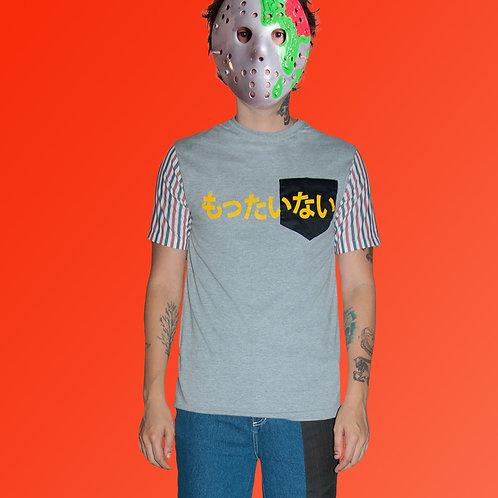 Camiseta cinza+ camisa listrada