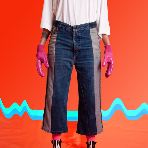 Calça jeans recorte do avesso
