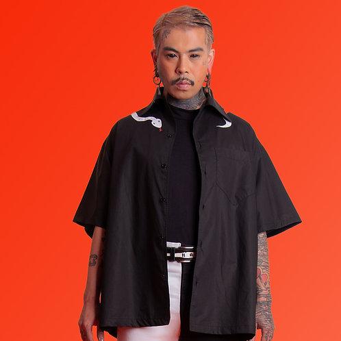 Camisa tricoline cobra preta