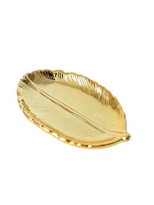 Golden Logo Leaf Trinket Dish