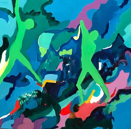 "Dancers5, acrylic, 36""x36"", 2017"