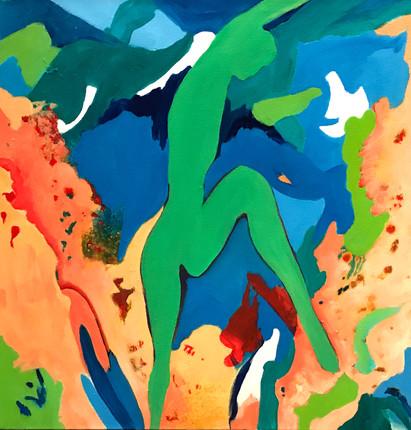 "Dancers6, acrylic, 36""x36"", 2017"
