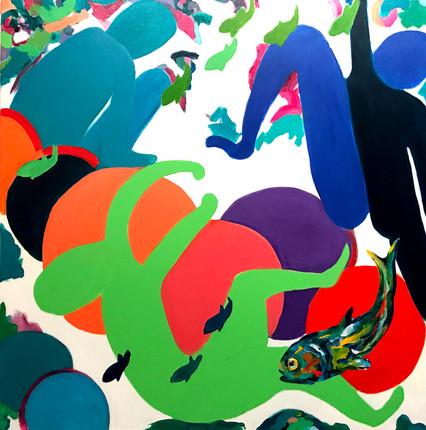 "The Bathers1, acrylic, 48""x48"", 2017"