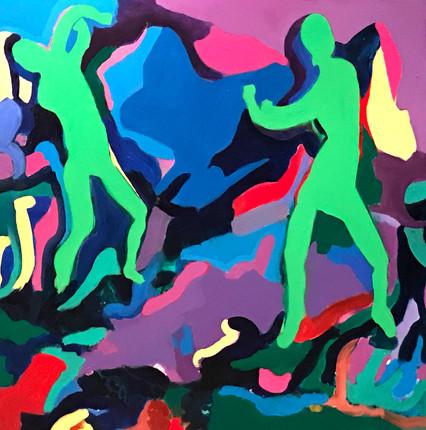 "Dancers2, acrylic, 48""x48"", 2017"