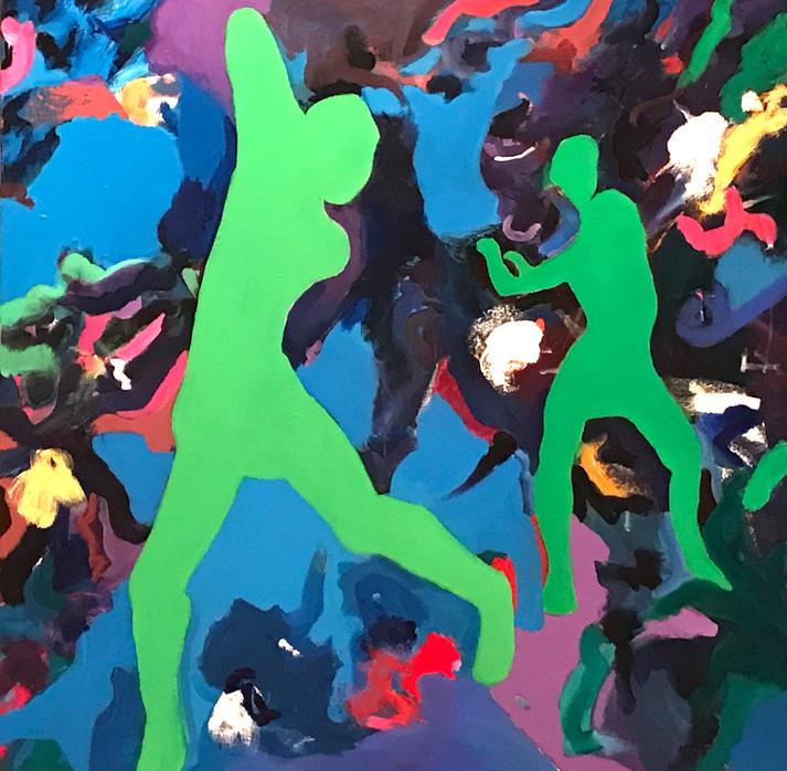 "Dancers1, acrylic, 48""x48"", 2017"