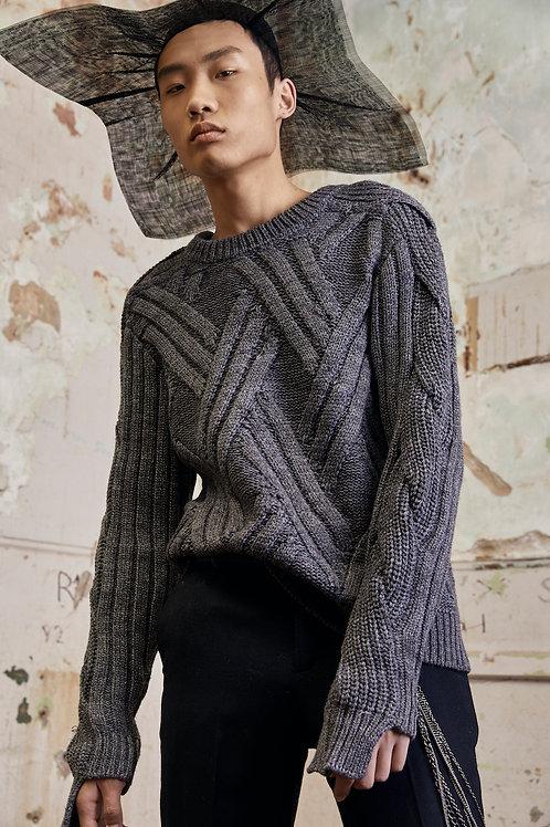 Structure Sleeve Wool Blend Jumper