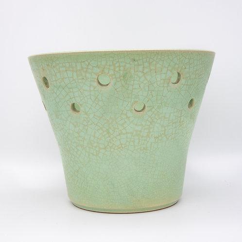 Steuler Keramik Blumentopf mit Craquelé Seladon Glasur, Vorderansicht