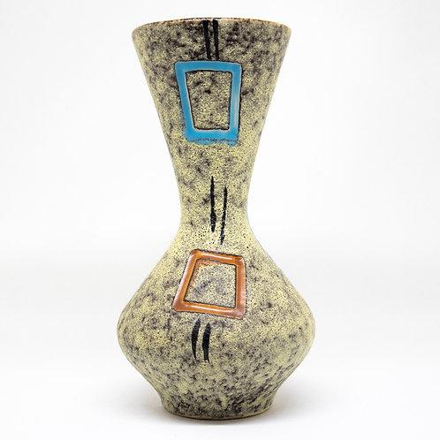 Vase mit Glasur-Scraffito und Granularglasur, Vorderansicht