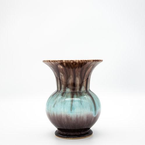 Bay Keramik Vase mit türkis, brauner Laufglasur, Vorderansicht