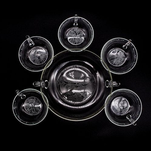 5-Teiliges Kompott Set aus den 1920er Jahren, von oben fotografiert