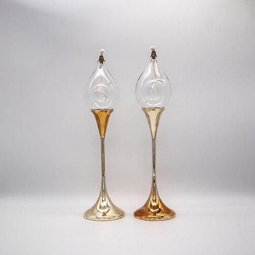 Öllampenpaar Clear Drops von Freddie Anderson, nebeneinander stehend