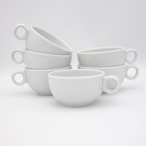 6 Teetassen der Form Josefine von Lilien Porzellan, gestapelt