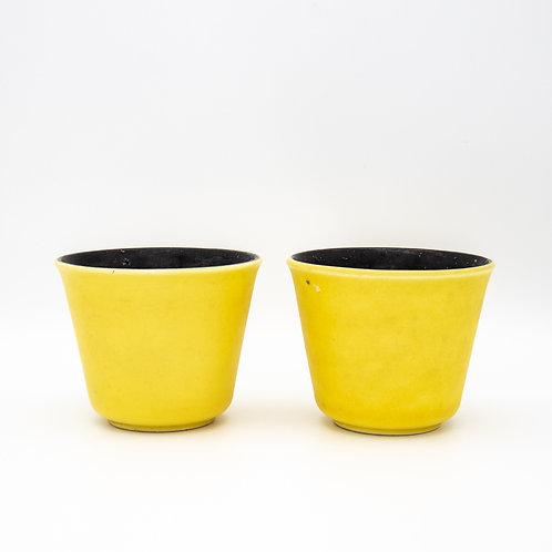 Ein Paar Blumentöpfe mit gelber und schwarzer Glasur, Vorderansicht