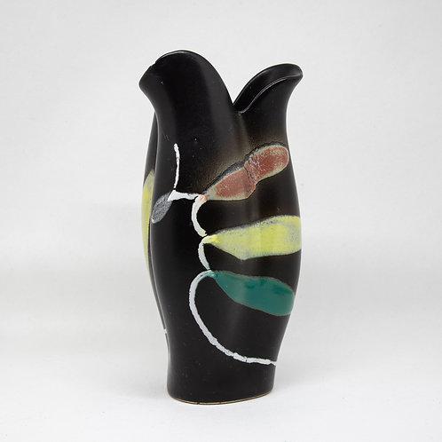 schwarze Vase mit buntem Dekor, Vorderansicht